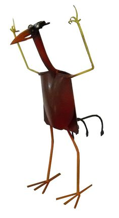 garden art shovel bird | Standing bird is made from two shovels put together; an antique plow ...