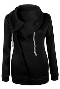 Allonly Women's Diagonal Zip-Up Long Sleeve Lapel Jacket Coat Sweatshirt