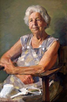 """Portrait of Miss Bachelor"" - Robert Hannaford (b. Australian, oil on canvas {contemporary figurative portrait artist seated elderly woman painting} Painting People, Woman Painting, Figure Painting, Painting & Drawing, Painting Canvas, Figurative Kunst, Arte Sketchbook, Oil Portrait, Portrait Paintings"