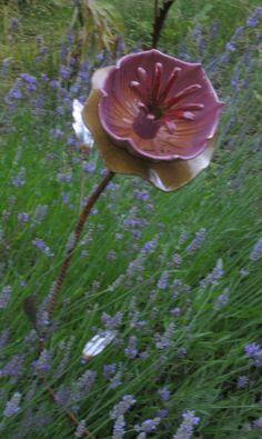 yard art, bunt pan?   Salvaged art, recycled garden art