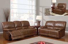 Transitional Brown Bonded Leather Bustle Back Living Room Set