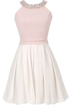 First Kiss Dress: Features a beautiful rhinestone-embellished neckline, blush pink top with pretty fitted waist, adorable bow decorating the backside, and a white skater-style skirt to finish.