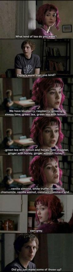 Still one of my favourite scenes in a movie...I may also have a mild addiction to teas...Scott Pilgrim vs The World