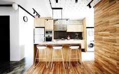 Free Space Intent: A pale wood palette, from wall and floor tiles to carpentry laminate, brings light-hearted warmth to the open kitchen. Open Concept Kitchen, Open Kitchen, Kitchen Stuff, Kitchen Island, Condo Design, Small House Design, Sweet Home, Wall And Floor Tiles, Wood Texture