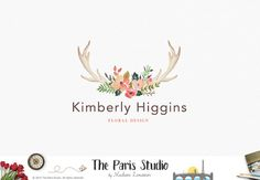 Watercolor Floral Antler Logo Design Pay As You by TheParisStudio