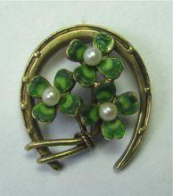 *SOLD* Laura's lifeintheknife on Ruby Lane: Antique Art Nouveau 14K Gold Krementz Enamel Clover Stick Pin