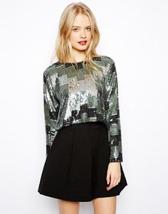 ASOS Crop Top with All Over Abstract Ombre Sequins