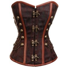 CD-231 - Brown Steampunk Style Overbust Corset with Chain and Stud Detail - STEAMPUNK
