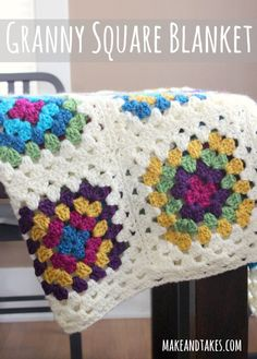 Granny Square Blanket Tutorial at makeandtakes.com