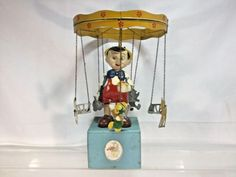 Jouets Creations Of France Pinocchio Windup Carousel Music Box Pinocchio Disney, Wooden Puppet, Howdy Doody, Marionette Puppet, Wooden Hand, Tin Toys, Carousel, Unique Art, Wind Chimes