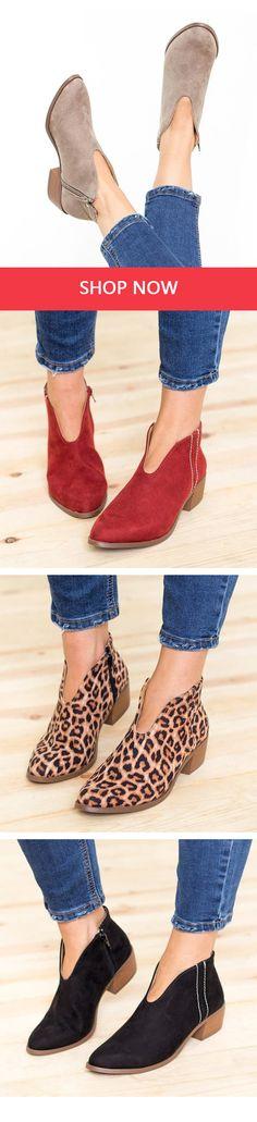 $29.99 USD Women Deep V Sex Booties Casual Comfort Plus Size Zipper Shoes Shoes World, Espadrilles, Ankle Boots, Plus Size, Booty, Zipper, Purses, My Style, Casual