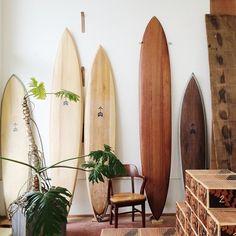 wooden surfboads! so classy!