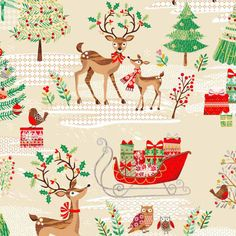 Makower Traditional Christmas Metallic Scenic | quilting cotton fabric | Holm Sown online fabric shop