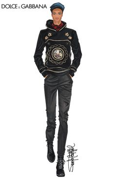 Fashion illustration by Paola Castillo   Dolce & Gabbana Menswear Collection fall/winter 2015-16   More illustration at http://fashionandillustration.com/en/   ♦F&I♦