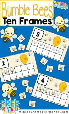 Bumble Bee Preschool 10 Frame Counting Activity Practice counting to 10 with this Bumble Bee 10 Frames Activity. These fun cards help kids practice their counting and number recognition skills as w… Numbers Preschool, Preschool Lessons, Preschool Learning, Kindergarten Activities, Learning Numbers, Preschool Printables, Fun Learning, Teaching Reading, Addition Activities