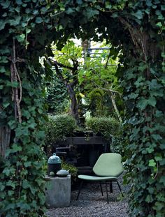 Green, fruitful garden filled with plants everywhere - create a small relaxation space in the middle and get a cave-feeling.