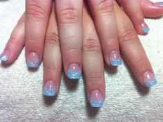 Acrylic nails with blue tips and white AB glitter @Naomi Francois Francois Holly