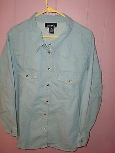 Denim Co Jean Western Cowgirl Pearl Snaps Women's Shirt Top Plus Size 3X   eBay