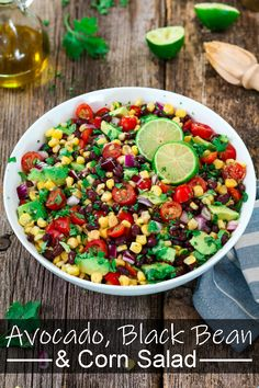 Avocado Black Bean Corn Salad Avocado Black Bean Corn Salad fast easy fresh and colorful No cooking required just chop the veggies and toss with a zesty Cilantro Lime Dressing vegan cowboycaviar cornsalad beansalad Vegan Potluck, Vegetarian Recipes, Mexican Food Recipes, Cooking Recipes, Healthy Recipes, Vegan Avocado Recipes, Dinner Recipes, Corn Salad Recipes, Corn Salads