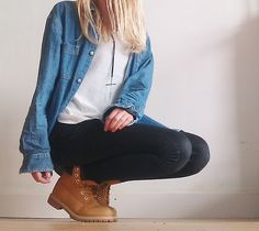 Timberlands + leggings+denim skirt, or skinny jeans, loose tee + denim shirt (thermal tee if it's nesh)