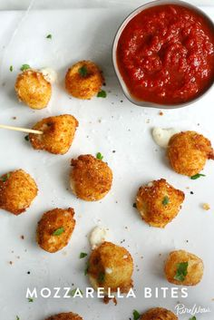 Mozzarella Bites | PureWow. Never trust a person who doesn't like mozzarella sticks. (It's fried cheese, people. What's not to love?) Since we're such big fans of this appetizer, we had to introduce you to this recipe for mozzarella bites. Instead of the usual stick shape, we fry tiny balls of cheese for a bite-size twist. Warning: Once you pop, you can't stop.
