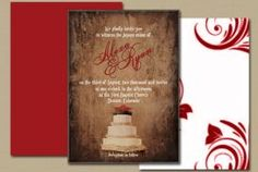 Rustic Wedding Invitation with red birds