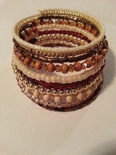 Brown, cream n gold memory wire bracelet