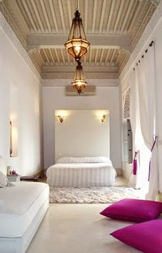 Moroccan minimal white room with bold accents and simple yet striking pendant Moroccan Design, Moroccan Decor, Moroccan Style, Moroccan Lanterns, Moroccan Bedroom, Moroccan Interiors, Home Design, Interior Design, Riad Essaouira