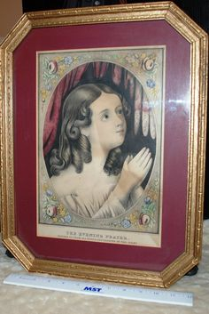 """1852 EC & EG Kellog Hand Colored Print """"The Evening Prayer""""  in Original Victorian Frame by ourPastourFuture on Etsy"""
