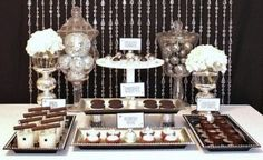 I designed this mini dessert table to coordinate with my Holiday-Glam Tablescape. It's great for an intimate dinner party, and serves up small bites so guests can sample a little bit of everything. For the dessert area I used the acrylic beaded curtain as a backdrop - a great way to tie two