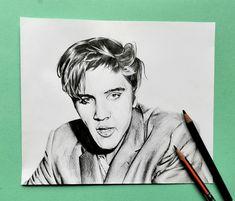 Elvis Presley black pencil portrait