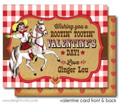 Vintage 1950s Cowgirl Valentine Cards for Kids, Girls Valentine cards, Printed Valentine cards, vintage valentines, girls valentine ideas, valentine cards for classroom, retro girls valentine's day cards