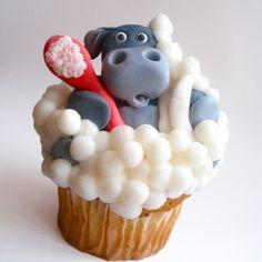 Adorable Hippo Bubblebath Cupcake