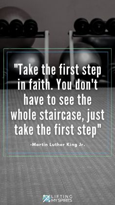 """""""Take the first step in faith. You don't have to see the whole staircase, just take the first step."""" ~ MLK #motivationalquote #fitnessmotivation Fitness Blogs, You Fitness, Fitness Goals, Fitness Motivation Quotes, Workout Motivation, Health Motivation, Healthy Weight Loss, Weight Loss Tips, Motivational Quotes"""