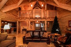 Other side of Family Room in Log Home listed with Ginny Vickers