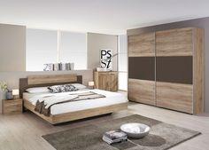 Chambre complète contemporaine MARIUS, coloris chêne blanchi ...