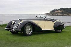 Hercule Poirot | 1937 Alfa Romeo 8C 2900 B Corto Touring Spider Classic European Cars, Classic Cars, Vintage Cars, Antique Cars, Pictures Of Sports Cars, Alfa Romeo 8c, Pebble Beach Concours, Car Show, Sport Cars