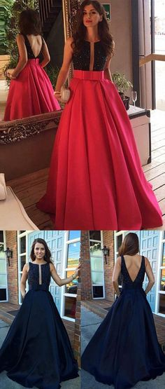 Elegant Rose Pink Prom Dress - Crew Neck Floor Length Backless with Beading Bowknot