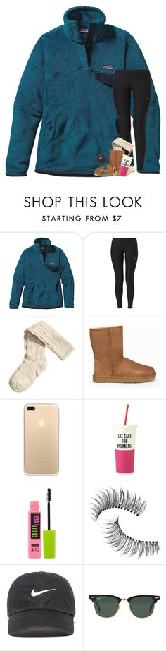 """""""300 Followers!!! """" by kat-attack ❤ liked on Polyvore featuring Patagonia, NIKE, H&M, UGG, Kate Spade, Maybelline, Trish McEvoy and Ray-Ban"""