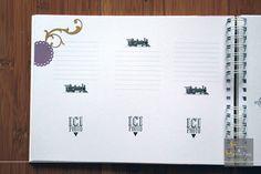 Livre d'or personnalisé et sur-mesure pour mariage, baptême, anniversaire. Intérieur avec petites enveloppes, cartes collées ou espaces imprimés...