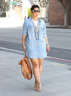 Denim Shirt Dress + Leather Backpack - Mimi G Style