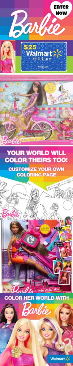 ENTER my Barbie Giveaway where 4 will win a 25 DOLLAR Walmart eGift Card (ends March 13) http://freebies4mom.com/2013/03/07/barbie/