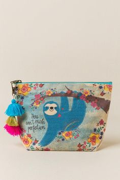 The Sloth Cosmetic Pouch features a canvas bag with a blue sloth and the saying You Cant Rush Perfection on the front. Baby Sloth, Cute Sloth, Party Fiesta, Cosmetic Pouch, My Spirit Animal, Painted Rocks, Kawaii, Cute Animals, Etsy Shop
