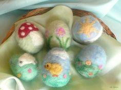 Easter Egg   Spring Chick Lamb Flower Mushroom Waldorf by LaLutine, $18.00