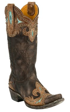 Old Gringo Ladies Taka Distressed Dark Brown with Turquoise & Studs Snip Toe Cowboy Boots