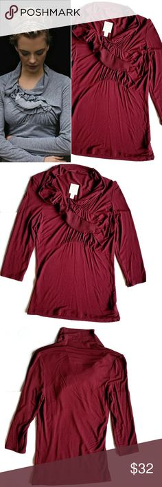 """Anthropologie Wind Rippled Tee in Burgundy U pique lightweight tee with 3/4 sleeves and chiffon ruffle front detail. 18"""" across chest,  24"""" long shoulder to bottom hem.  Really good stretch. In excellent condition. Anthropologie Tops Blouses"""