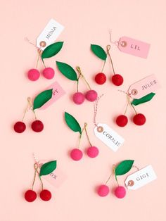 Felt Ball Cherry Place Card, Gift Topper, and Favor DIY | Oh Happy Day! | Bloglovin'
