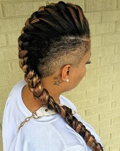 Mohawk Inspired Goddess Braids - Mohawk Inspired Show off some ink or favorite jewelry with shaved sides and a braid that is reminiscent of a Mohawk hairstyle. When it comes to goddess braids styles, you can make this fun braid even better with some highlights.