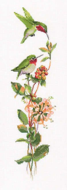 "Toccata in Green (VPTG562)   Cute bird 'duets' cross stitch design based on the watercolour paintings of Valerie Pfeiffer, produced by Heritage Crafts.   Contents: 14 count aida or 27 count evenweave fabric, DMC stranded cottons, chart, needle and full instructions.   Size: 13.5"" x 3.5"" (34cm x 9cm approx).   *Please allow upto 7 working days for dispatch*   See more Valerie Pfeiffer cross stitch kits&..."
