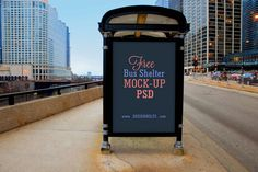 Free Black Bus Stop Outdoor Mock-up (6.3 MB) | designbolts.com | #free #photoshop #mockup #bus #stop #outdoor